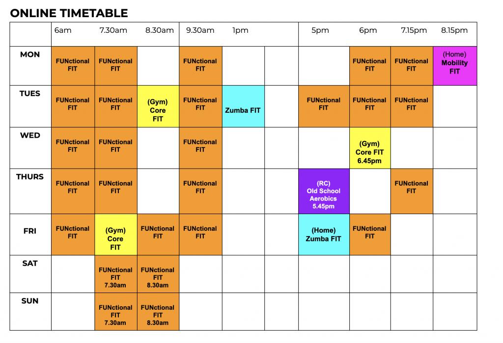 AbFabFit Club - Live Classes Online Timetable