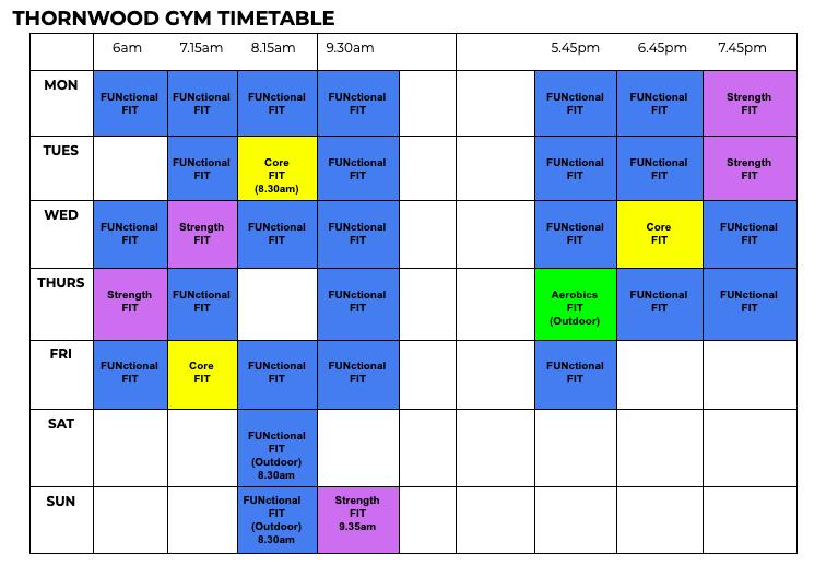 AbFabFit Club - Thornwood Epping Timetable