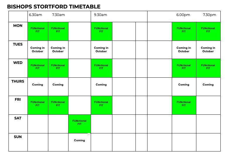 AbFabFit Club - Class Timetable - Bishops Stortford